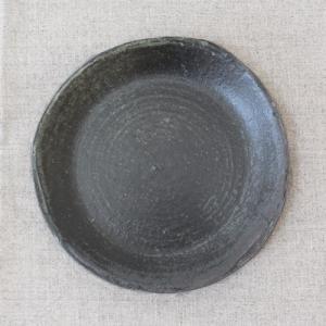 おしゃれ取り皿 小皿 キナリ/黒 丸皿 15cm 信楽焼 食器 和食器|cayest