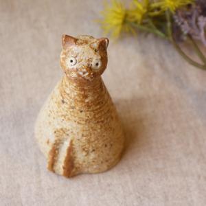 スマート猫 置きもの オブジェ 陶器 信楽焼 猫 手作り 利十郎窯|cayest