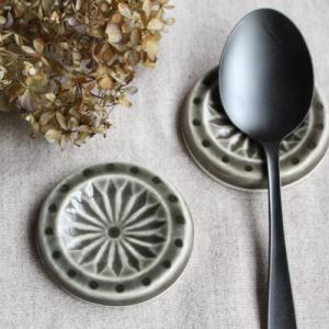 スプーン置き 箸置き 丸型 河原崎優子 カラフル カレースプーンにおすすめ 陶器|cayest