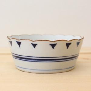 花びら小鉢 鉢 ボウル 京都染付 三角 格子柄 和食器 日本製|cayest