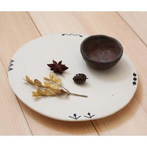 絵付 丸皿 白 フラットプレート 21cm 大皿 食器 陶器 廣川みのり|cayest
