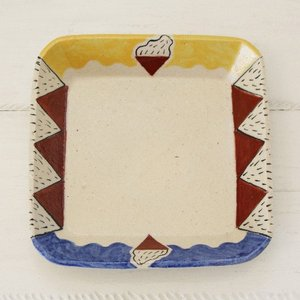 角皿 18cm 角鉢 カラフル 廣川みのり 個性派 絵付け アート 浅鉢 和食器|cayest
