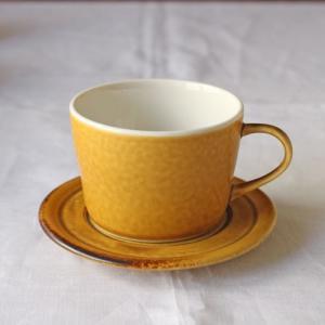 【訳あり】マグカップ & ソーサー ピコ 黄色 陶器 シンプル カフェ|cayest