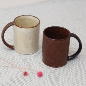 マグカップ キナリ/カカオ 200cc 陶器 シンプル ストレート型 カップ カフェ|cayest