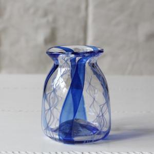 花瓶 花器 吹きガラス 青レース 一輪挿し 手作り Hono工房|cayest