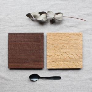 木製プレート スクエア オイル仕上げ 甲斐幸太郎 ウォルナット/ホワイトオーク コースタートレイ|cayest