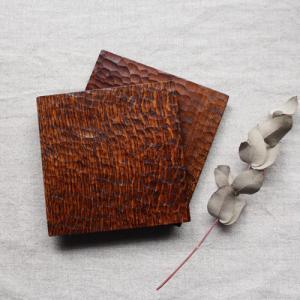 木製プレート スクエア 拭漆 甲斐幸太郎 チェリー/ホワイトオーク コースタートレイ|cayest