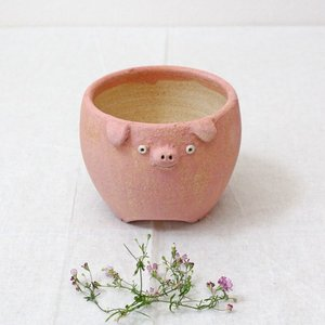 植木鉢 ピンク ブタ 小 陶器 動物 かわいい 多肉 信楽焼 利十郎窯|cayest