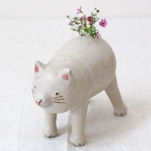 白猫ミーコの一輪挿し 花器 花瓶 陶器 信楽焼 おしゃれ かわいい 利十郎窯|cayest