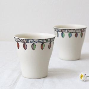 葉っぱ柄 湯飲み 陶器 カップ 白 廣川みのり 和食器 ゴブレット おしゃれ 絵付け|cayest