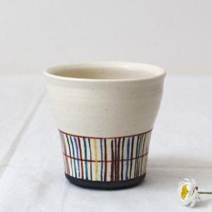小町格子 湯飲み 白 陶器カップ 廣川みのり 格子柄 かわいい ゴブレット|cayest