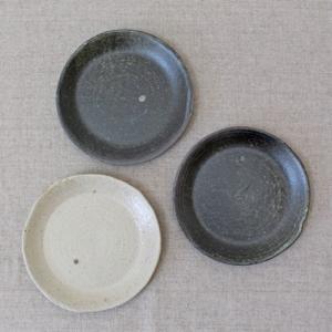 【B品 お値下げ品】取り皿 小皿 キナリ/黒 丸皿 15cm 信楽焼 食器|cayest