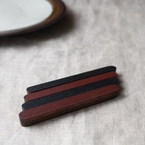 カトラリーレスト 木製 漆黒/漆赤 箸置き 甲斐幸太郎 木工 日本製 和風|cayest