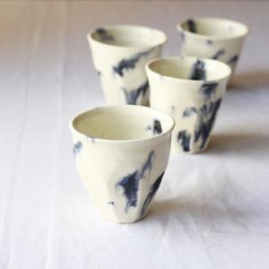 墨流し ぐい呑 お猪口 丸み 廣川みのり 酒器 陶器 かっこいい 涼やか アート|cayest