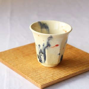 墨流し ぐい呑 お猪口 反り シノギ 廣川みのり 酒器 陶器 かっこいい 涼やか アート|cayest