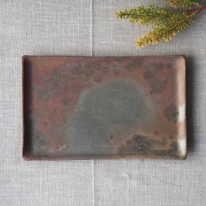 焼締 長方形 長皿 20x13cm 丹波焼 丹久窯 焼魚皿 かっこいい 渋め|cayest