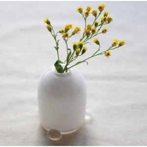 一輪挿し 手作り 花器 透明 つぶつぶ 白 丸型 吹きガラス 花瓶 tonari|cayest