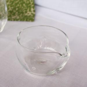 ガラス 透明 片口 小鉢 120cc ガラスボウル ミルクピッチャー tonari 吹きガラス 手作り かわいい cayest
