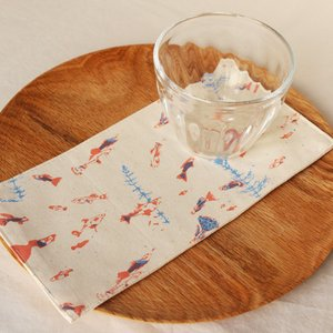布コースター グッピー 長方形 綿100% 熱帯魚 aosansyo 11cmx22cm シルクスクリーン|cayest