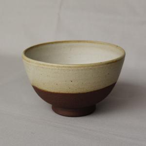 焼締 お茶碗 釉薬 利休白茶 丹波焼 塗り分け 和食器 陶器 素朴 ほっこり|cayest