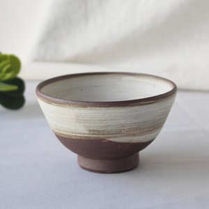 焼締 お茶碗 白化粧 丹波焼 塗り分け 和食器 陶器 素朴 ほっこり|cayest