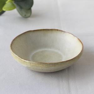 焼締 小皿 丸型 釉薬 利休白茶 塗り分け 丹波焼 醤油皿 豆皿 ほっこり 素朴 かわいい 和食器|cayest