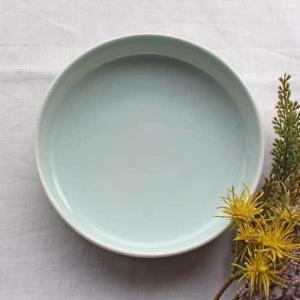 どら鉢 18cm 中鉢 浅鉢 青磁 水色 丸皿  涼やか かわいい 1点のみ|cayest