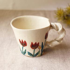 マグカップ 野花柄 ねじねじ取っ手 コーヒーカップ 180cc 廣川みのり 陶器 かわいい|cayest