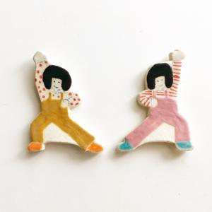 箸置き おかっぱちゃん 体操 まけないぞー かわいい 手作り 陶器 kikomimi cayest