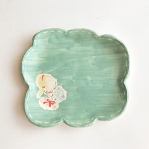 もくもくお皿 グリーン 手作り 陶器 かわいい kikomimi 横顔女の子とお花|cayest