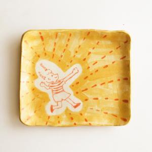 角皿 黄色 イラスト かわいい 手作り 陶器 kikomimi 横顔女の子 キャッホゥ!|cayest