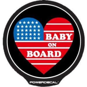 配線不要! パワーデカール アメリカンハート Baby On Board American Heart 赤ちゃんが乗っています 光るLEDデカール|cbparts