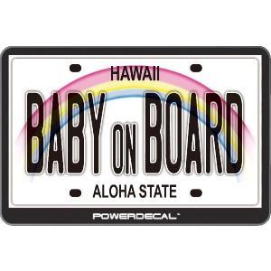 配線不要! パワーデカール ハワイナンバー Baby On Board Hawaii License Plate 赤ちゃんが乗っています 光るLEDデカール|cbparts