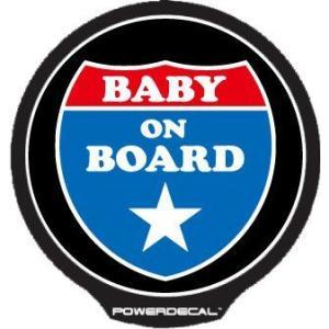 配線不要! パワーデカール インターステート Baby On Board Interstate Sign 赤ちゃんが乗っています 光るLEDデカール|cbparts