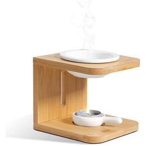 OppsArt アロマポットアロマバーナー 茶香炉 天然木 陶器 インテイア飾り プレゼント cc2021