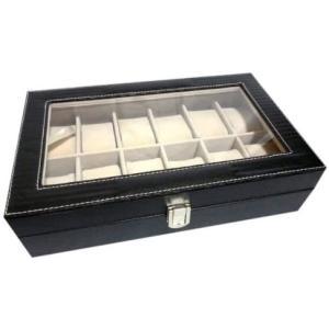 ウォッチコレクションケース 腕時計12本収納 / ブラックレザー調(PVC黒)|cc2021