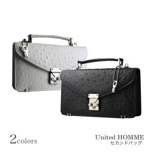 United HOMMEユナイテッドオム セカンドバッグ メンズ ホワイト オーストリッチ型押し BOX型 紳士用 男性用鞄 カバン cccstores