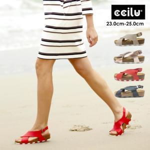 サンダル レディース 夏 履きやすい 痛くない 歩きやすい チル ccilu クロスベルト バックストラップ 海 プール 旅行 コルク リカバリー 水陸両用|ccilu
