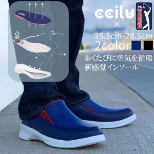 コンフォートシューズ スリッポン メンズ ブラック シューズ 靴 チル ccilu pga golf ゴルフ アウトドア|ccilu