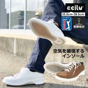 コンフォートシューズ スニーカー メンズ カジュアル レザー ブラウン ホワイト  シューズ 靴 チル ccilu pga tour golf shoes ゴルフ|ccilu