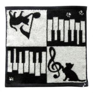 (代引不可)Abeille 今治タオルハンカチ ネコ&ピアノ AOTM-652|ccnshop