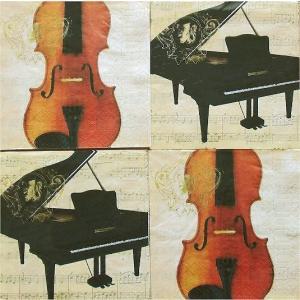 25cmペーパーナプキン4枚セット カクテルサイズ オリジナルアソート PPD ドイツ 音楽 バイオリン 楽譜 ピアノ 楽器 紙コースター デコパージュ ドリパージュ ccpopo