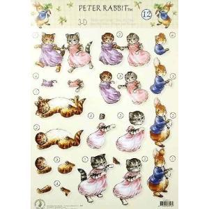 ピーターラビット PETER RABBIT 3Dデコパージュシート No.12 BEATRIX POTTER イギリス スクラップブッキング カード作り|ccpopo