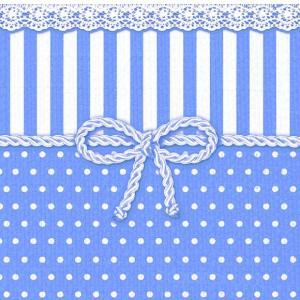 1枚バラ売りペーパーナプキン Ambiente オランダ リボン 青 ブルー BOW BLUE 13307953 デコパージュ ドリパージュ|ccpopo