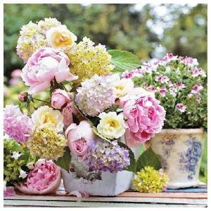 1枚バラ売りペーパーナプキン Ambiente オランダ 牡丹のアレンジメント Peony Arrangement 13309705 デコパージュ ドリパージュ|ccpopo