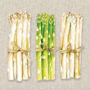 1枚バラ売りペーパーナプキン Ambiente オランダ 新鮮野菜 アスパラガス Fresh Asparagus 13310245 デコパージュ ドリパージュ|ccpopo
