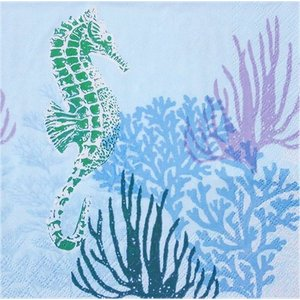 1枚バラ売りペーパーナプキン Ambiente オランダ タツノオトシゴ 海中 青 Coral Blue 13311325 デコパージュ ドリパージュ|ccpopo