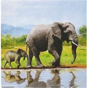 1枚バラ売りペーパーナプキン Ambiente オランダ 象 ゾウ Elephant 13311575 デコパージュ ドリパージュ|ccpopo