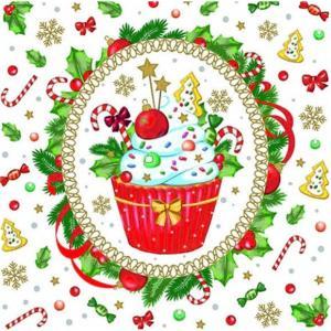 1枚バラ売りペーパーナプキン Decorated Cupcake  かわいく飾ったカップケーキ 33311070  デコパージュ ドリパージュ|ccpopo