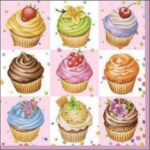 Ambiente オランダ ペーパーナプキン カップケーキスクウェア Cupcakes Square pink 13306596 バラ売り2枚1セット デコパージュ ドリパージュ|ccpopo